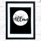 Close-up of Allan hometown map design in black shadowbox frame with white matte