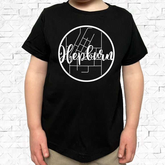 toddler-sized black short-sleeved shirt with white Hepburn hometown map design