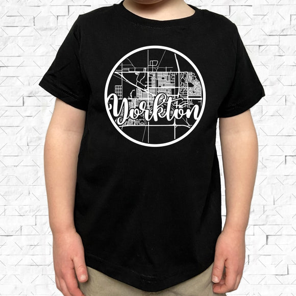 toddler-sized black short-sleeved shirt with white Yorkton hometown map design
