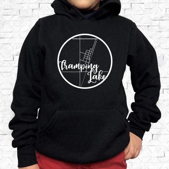 youth-sized black hoodie with white Tramping Lake hometown map design