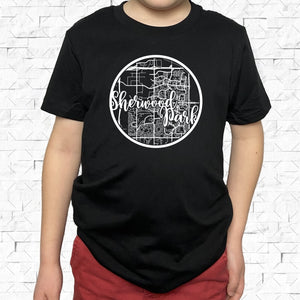 youth-sized black short-sleeved shirt with white Sherwood Park hometown map design