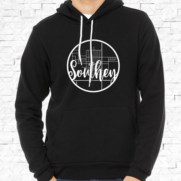 adult-sized black hoodie with white Southey hometown map design