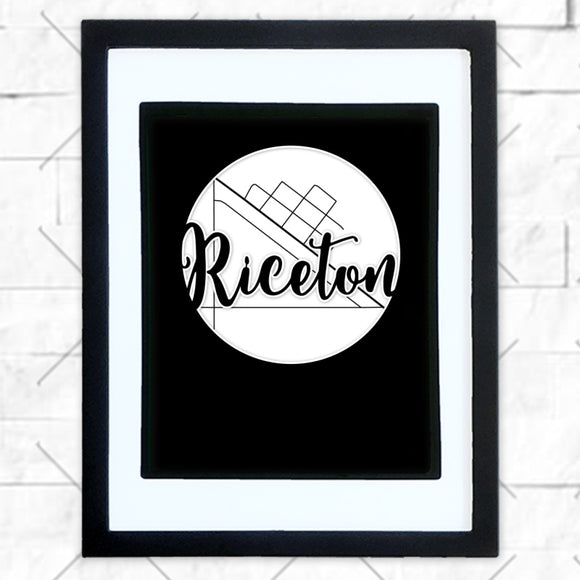 Close-up of Riceton hometown map design in black shadowbox frame with white matte