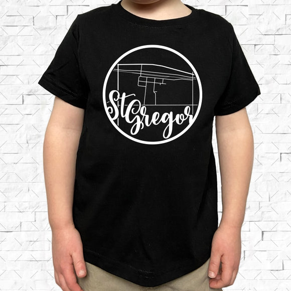 toddler-sized black short-sleeved shirt with white St Gregor hometown map design