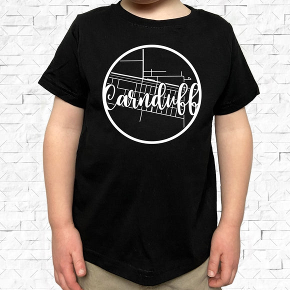 toddler-sized black short-sleeved shirt with white Carnduff hometown map design