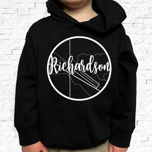 toddler-sized black hoodie with Richardson hometown map design