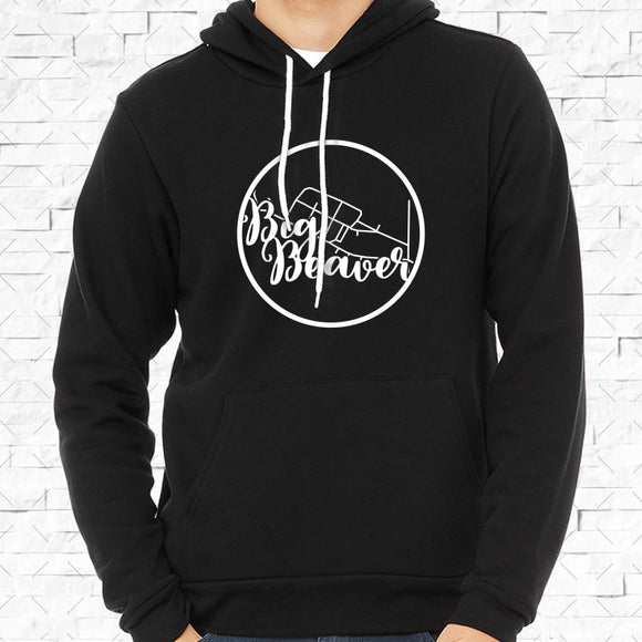 adult-sized black hoodie with white Big Beaver hometown map design