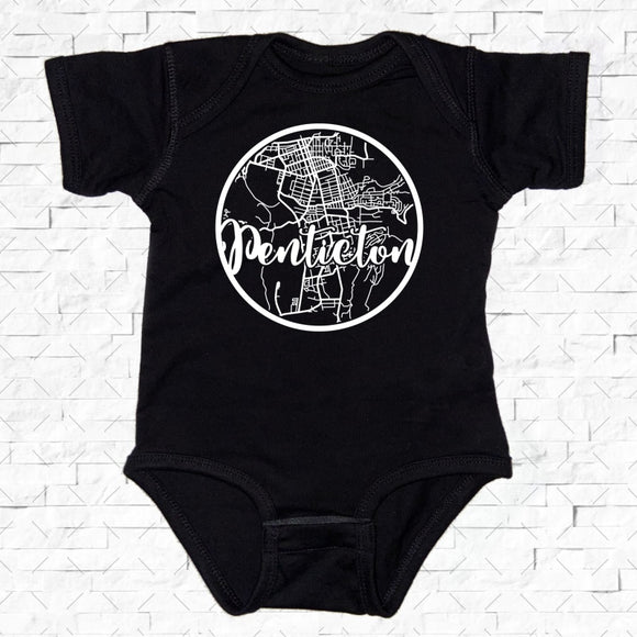 baby-sized black short-sleeved onesie with Penticton hometown map design