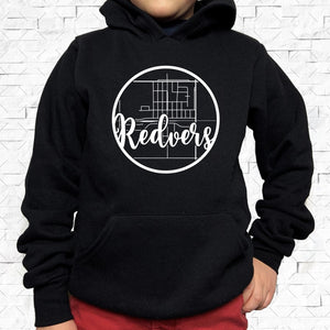 youth-sized black hoodie with white Redvers hometown map design
