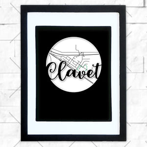 Close-up of Clavet hometown map design in black shadowbox frame with white matte