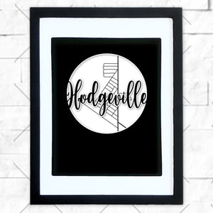 Close-up of Hodgeville hometown map design in black shadowbox frame with white matte