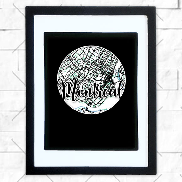 Close-up of Montreal hometown map design in black shadowbox frame with white matte