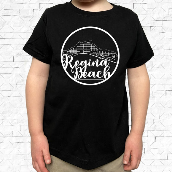toddler-sized black short-sleeved shirt with white Regina Beach hometown map design
