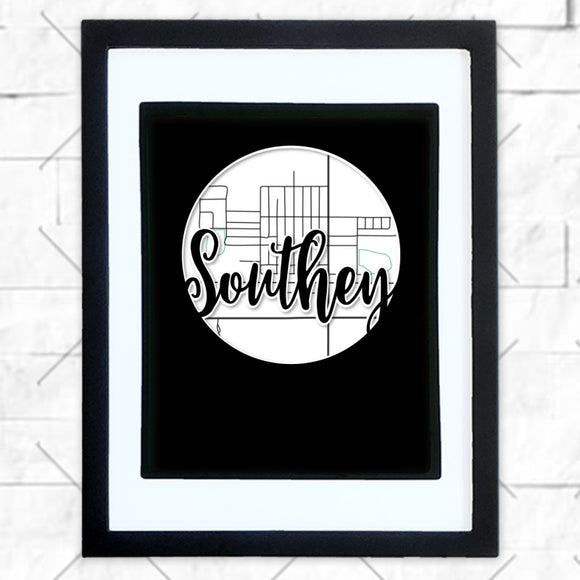 Close-up of Southey hometown map design in black shadowbox frame with white matte