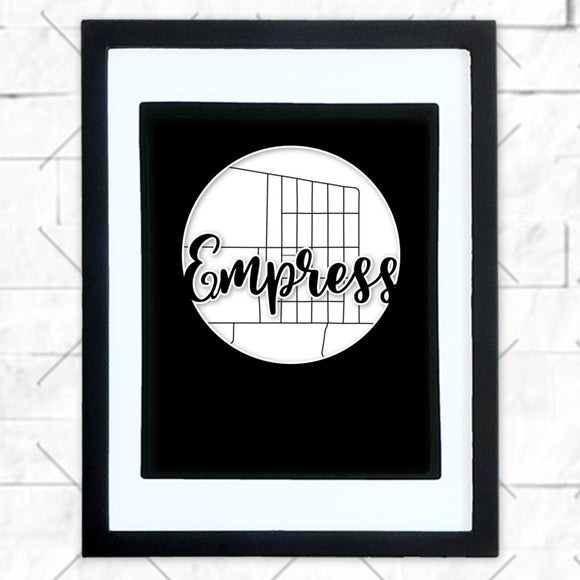 Close-up of Empress hometown map design in black shadowbox frame with white matte