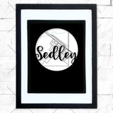 Close-up of Sedley hometown map design in black shadowbox frame with white matte