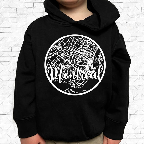 toddler-sized black hoodie with Montreal hometown map design