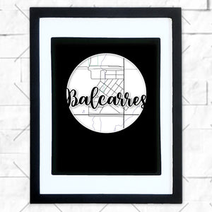 Close-up of Balcarres hometown map design in black shadowbox frame with white matte
