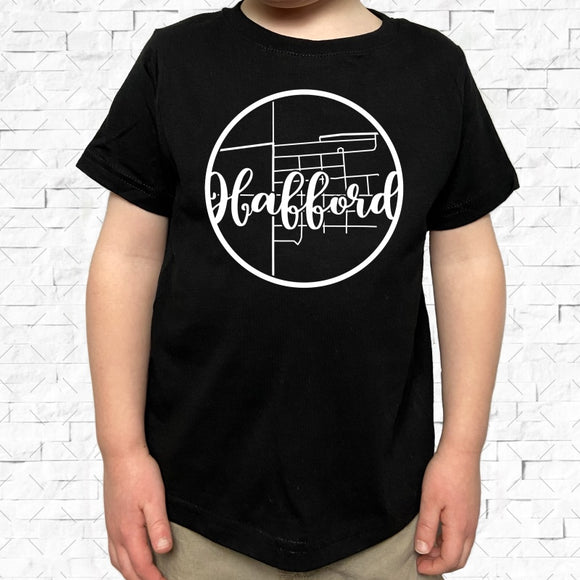 toddler-sized black short-sleeved shirt with white Hafford hometown map design