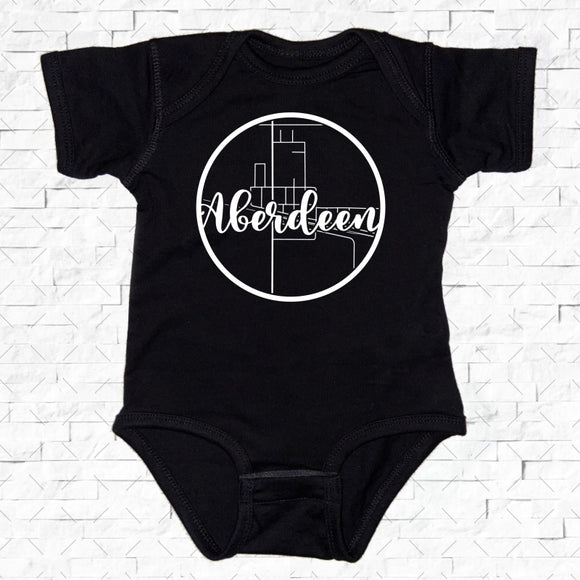 baby-sized black short-sleeved onesie with Aberdeen hometown map design
