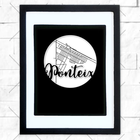 Close-up of Ponteix hometown map design in black shadowbox frame with white matte