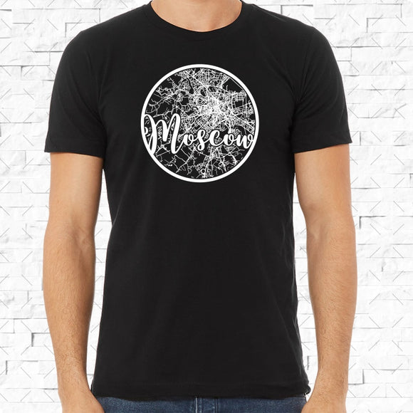 adult-sized black short-sleeved shirt with white Moscow hometown map design