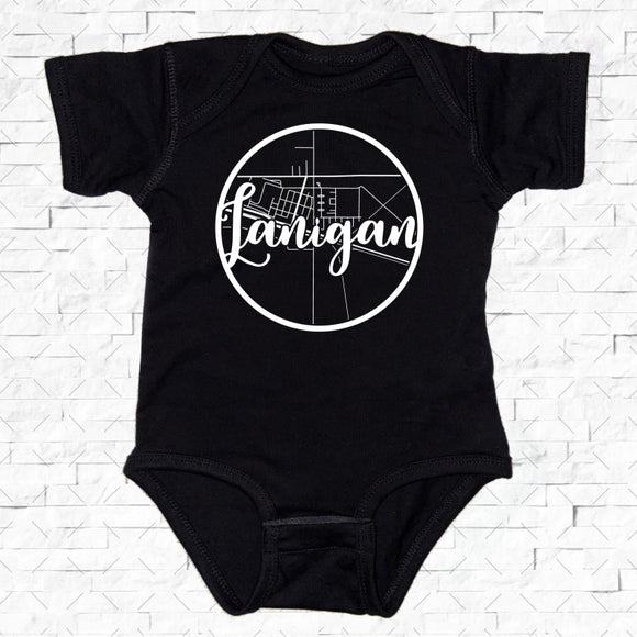 baby-sized black short-sleeved onesie with Lanigan hometown map design
