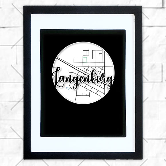 Close-up of Langenburg hometown map design in black shadowbox frame with white matte