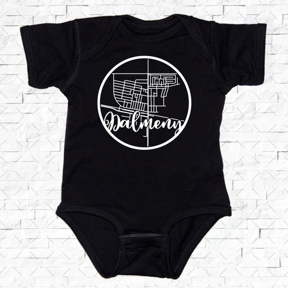 baby-sized black short-sleeved onesie with Dalmeny hometown map design