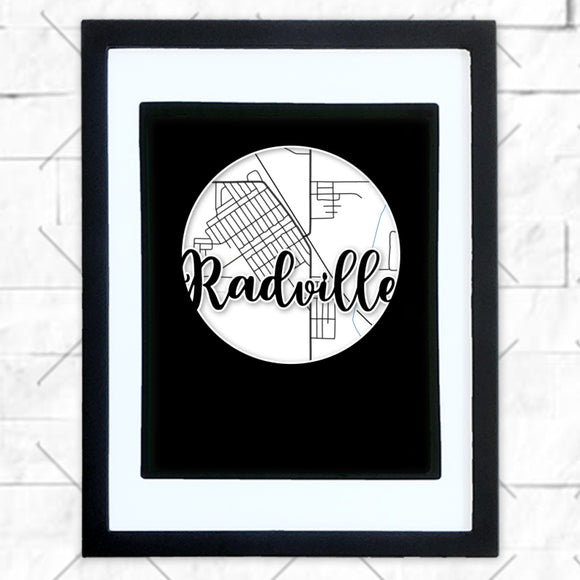 Close-up of Radville hometown map design in black shadowbox frame with white matte