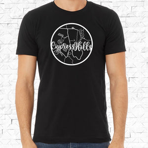 adult-sized black short-sleeved shirt with white Cypress Hills hometown map design