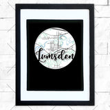 Close-up of Lumsden hometown map design in black shadowbox frame with white matte