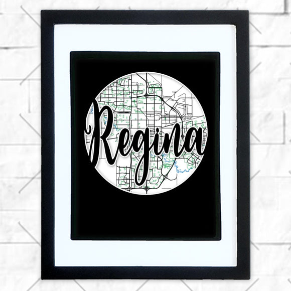 Close-up of Regina hometown map design in black shadowbox frame with white matte
