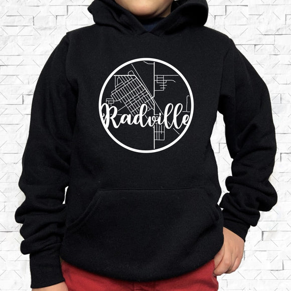 youth-sized black hoodie with white Radville hometown map design