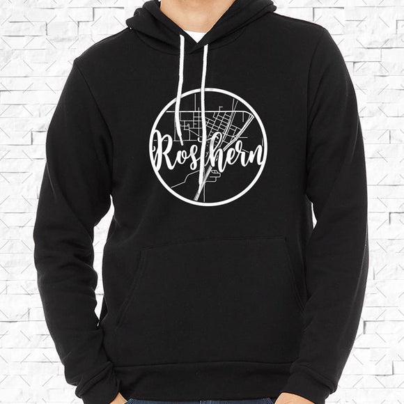 adult-sized black hoodie with white Rosthern hometown map design