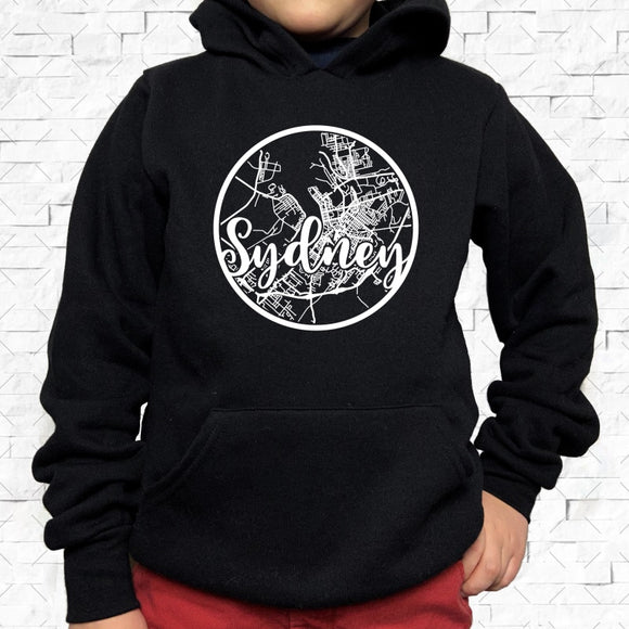 youth-sized black hoodie with white Sydney hometown map design