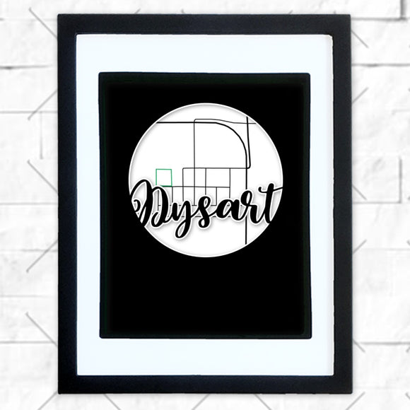 Close-up of Dysart hometown map design in black shadowbox frame with white matte