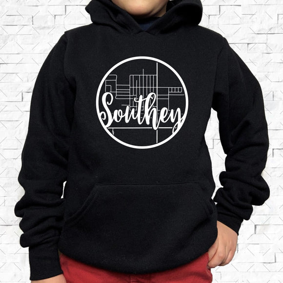 youth-sized black hoodie with white Southey hometown map design