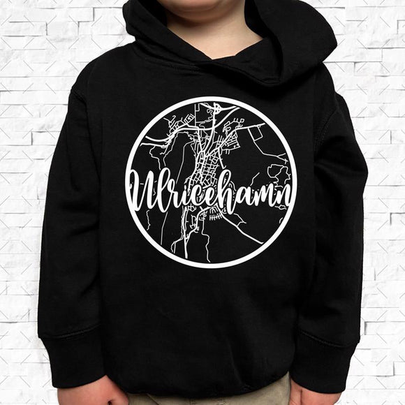 toddler-sized black hoodie with Ulricehamn hometown map design