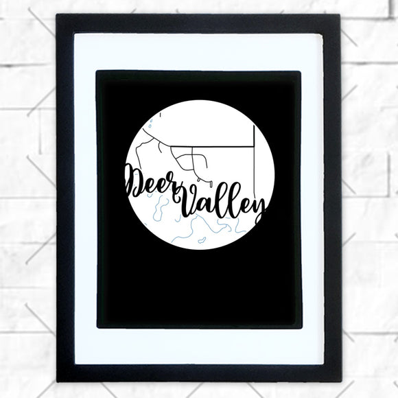 Close-up of Deer Valley hometown map design in black shadowbox frame with white matte