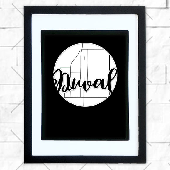 Close-up of Duval hometown map design in black shadowbox frame with white matte