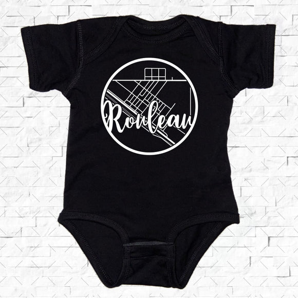 baby-sized black short-sleeved onesie with Rouleau hometown map design