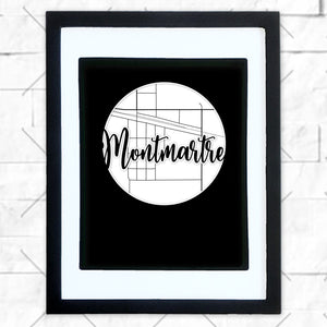 Close-up of Montmartre hometown map design in black shadowbox frame with white matte