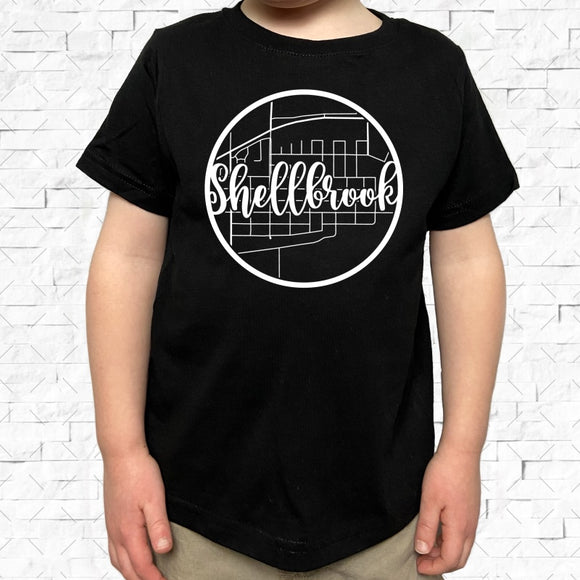 toddler-sized black short-sleeved shirt with white Shellbrook hometown map design