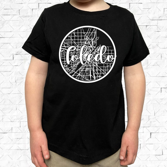 toddler-sized black short-sleeved shirt with white Toledo hometown map design