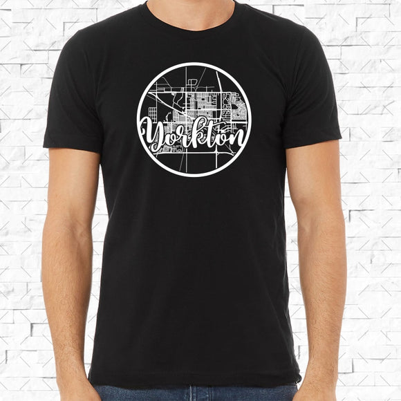 adult-sized black short-sleeved shirt with white Yorkton hometown map design