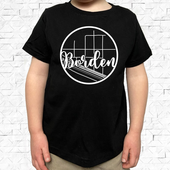 toddler-sized black short-sleeved shirt with white Borden hometown map design