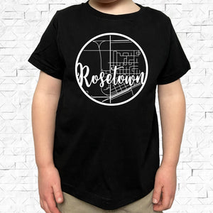 toddler-sized black short-sleeved shirt with white Rosetown hometown map design