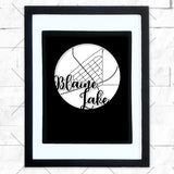 Close-up of Blaine Lake hometown map design in black shadowbox frame with white matte