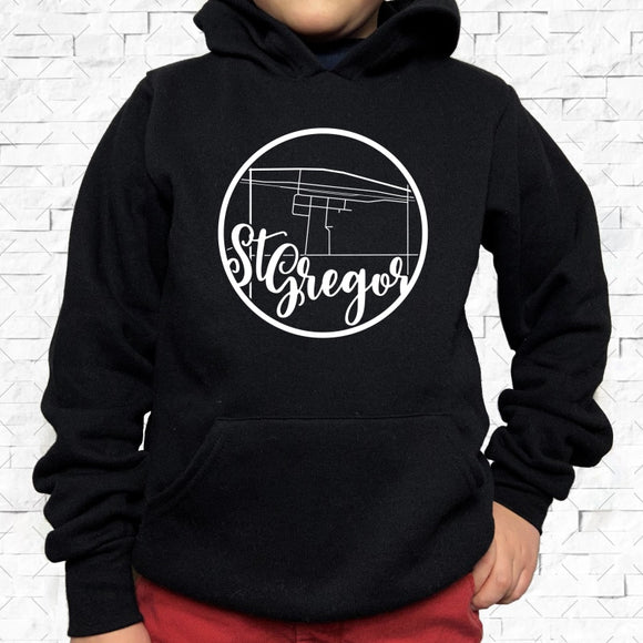 youth-sized black hoodie with white St Gregor hometown map design